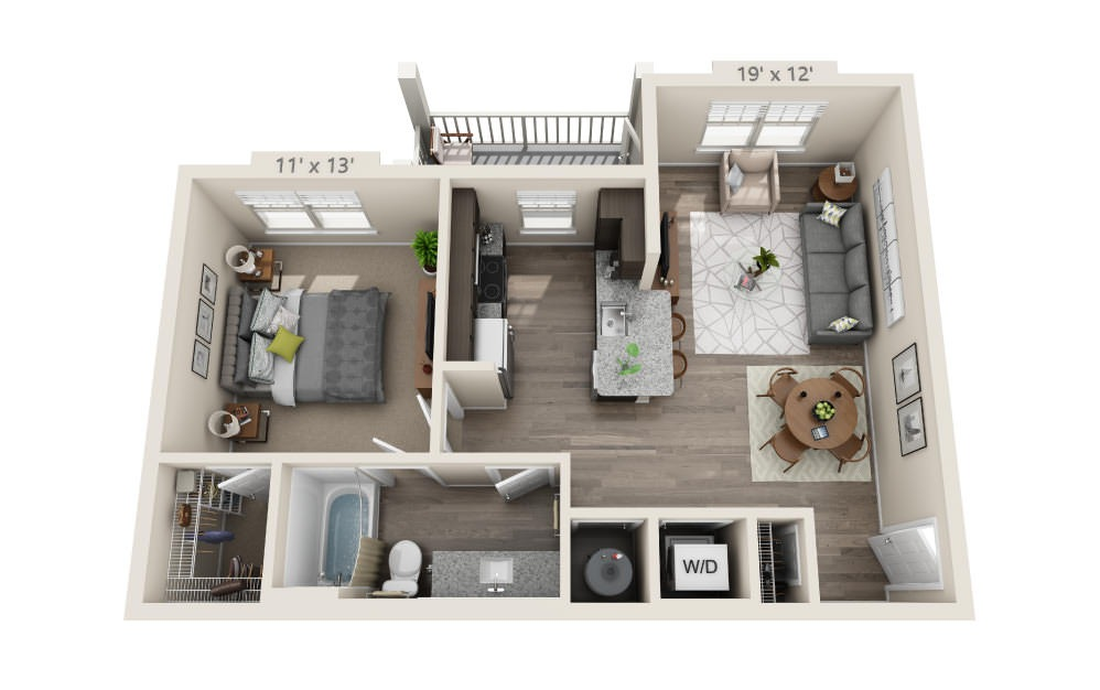 A1 - 1 bedroom floorplan layout with 1 bath and 696 square feet.