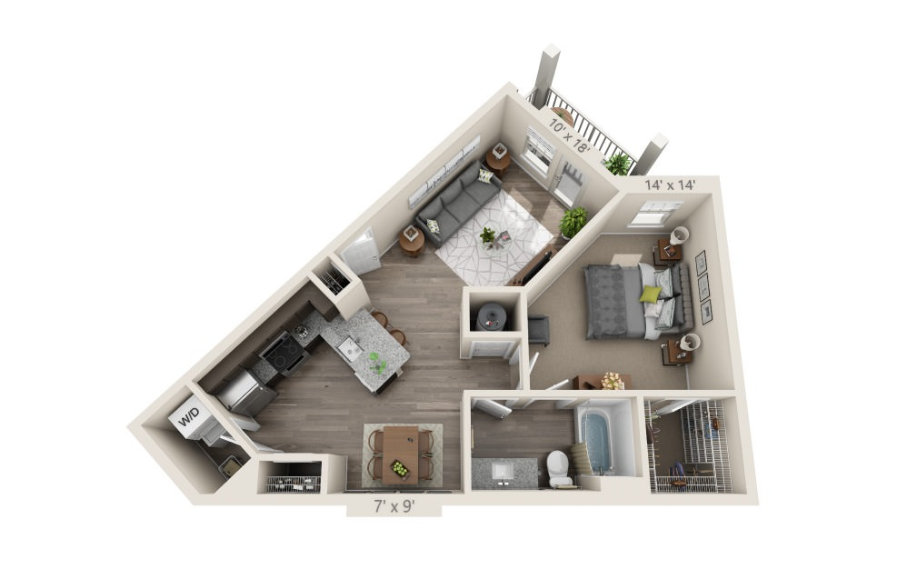 A2 - 1 bedroom floorplan layout with 1 bath and 743 square feet.