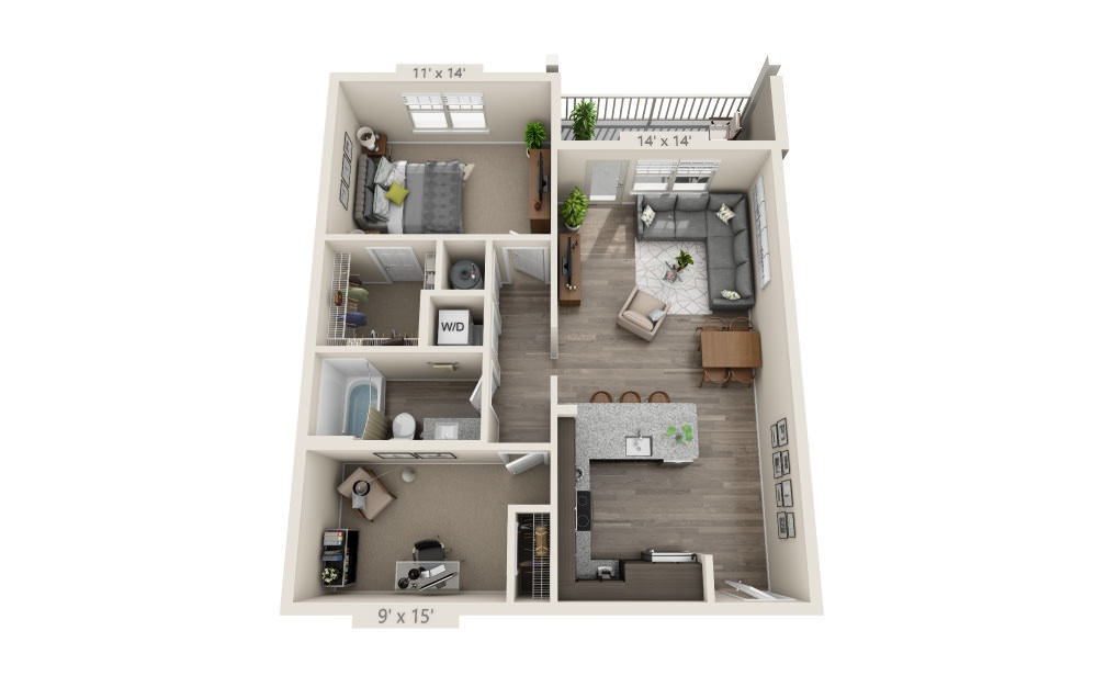A3D - 1 bedroom floorplan layout with 1 bath and 902 square feet.
