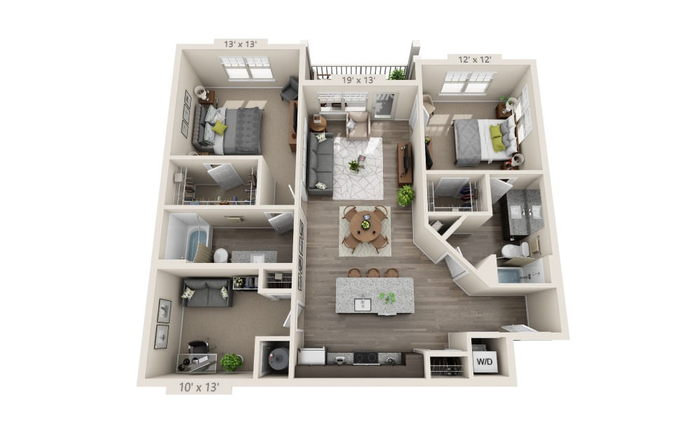 B3D - 2 bedroom floorplan layout with 2 baths and 1245 square feet.