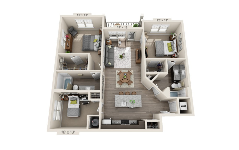 C1 - 2 bedroom floorplan layout with 2 baths and 1232 square feet.