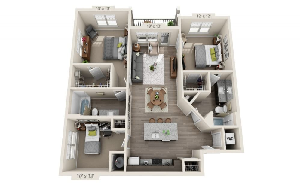 C1 - 3 bedroom floorplan layout with 2 baths and 1232 square feet.